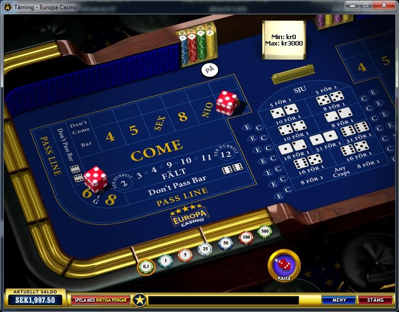 craps - europa casino